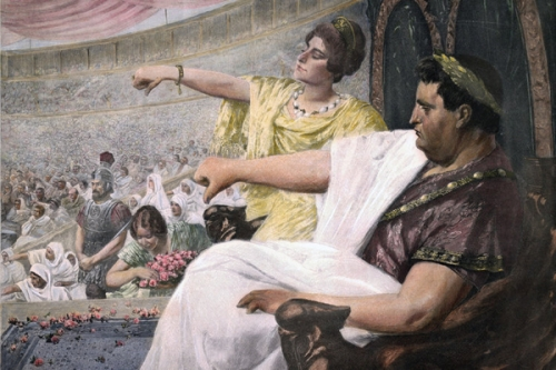 Roman emperors pictured unhappy with gladiators who were not stylish.